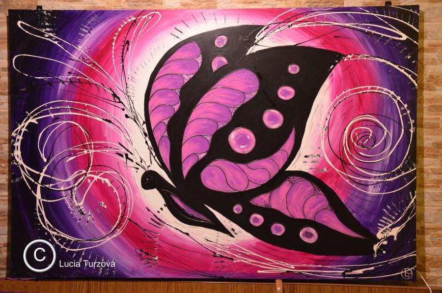 Vitraz V Obraze Purple Butterfly
